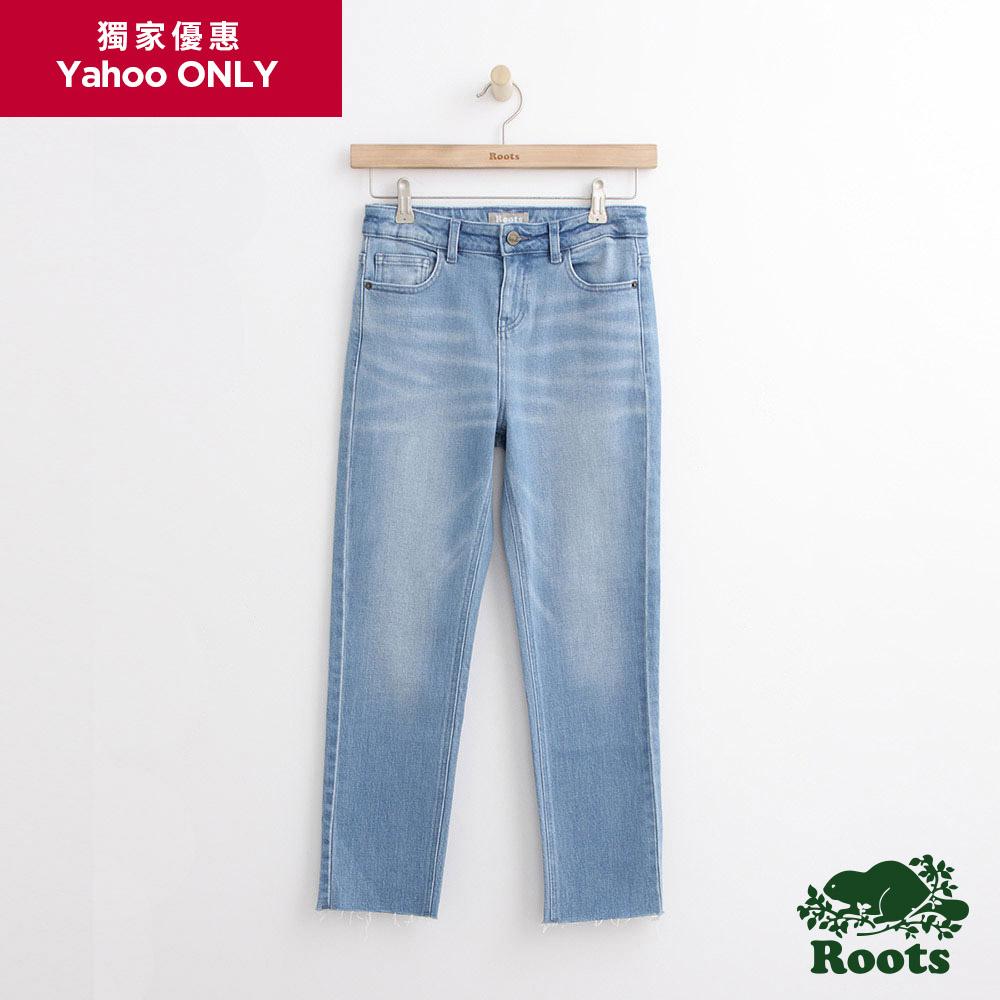 Roots -女裝- DENIM - 中腰直筒褲 - 藍