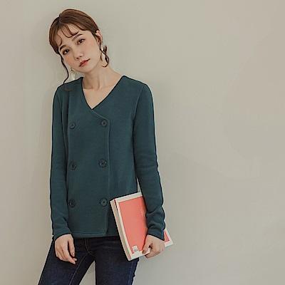 純色大V領彈性針織雙排釦長袖上衣-OB嚴選