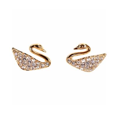 SWAROVSKI 施華洛世奇 Swan 水晶天鵝穿針式耳環(玫瑰金色)