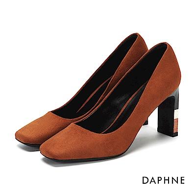 達芙妮DAPHNE 高跟鞋-絨布木紋拼色方頭高跟鞋-棕