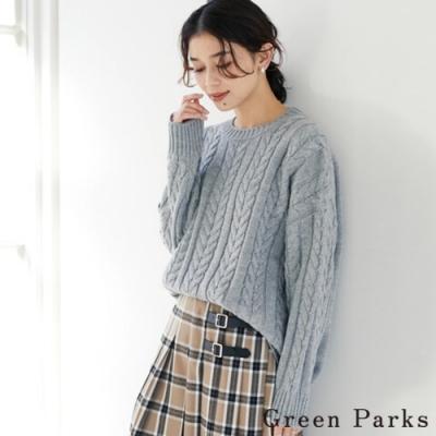 Green Parks 素面麻花編織落肩圓領針織衫