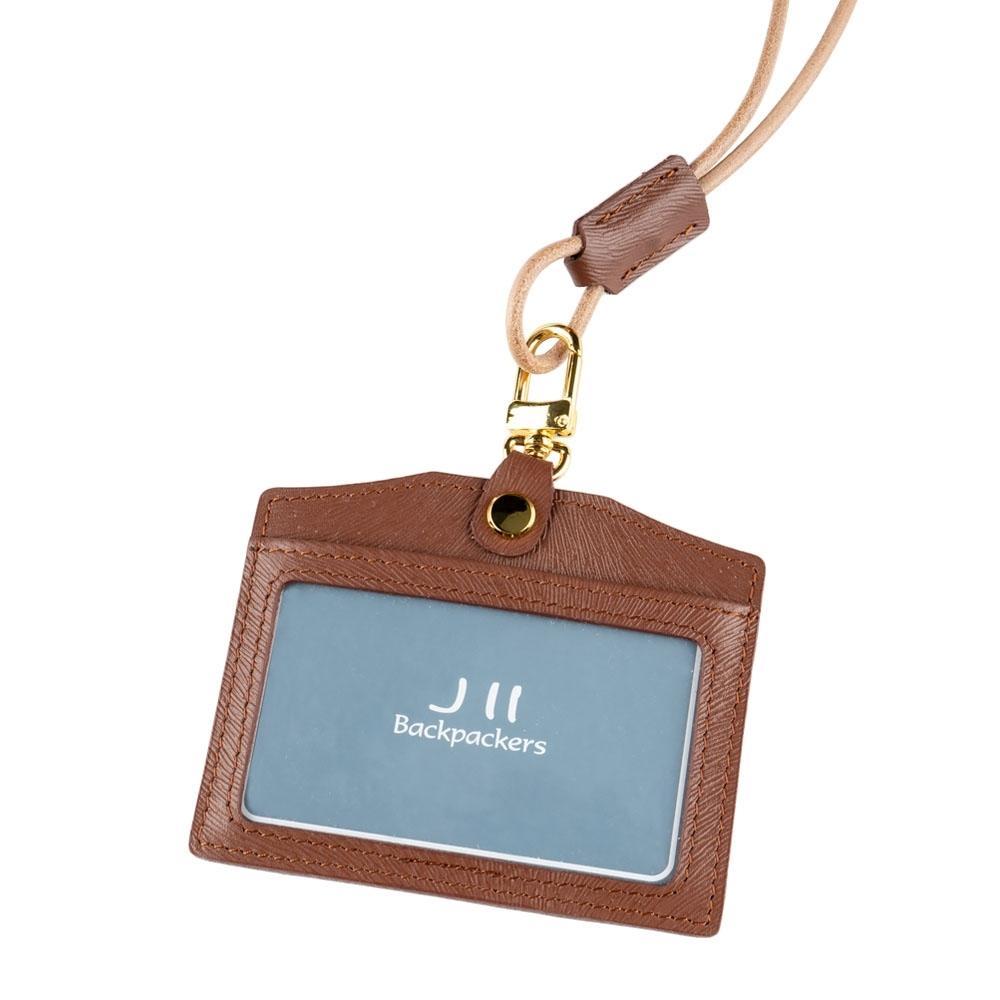 J II 馬鬚紋橫式牛皮證件卡套-咖啡色-2202-2