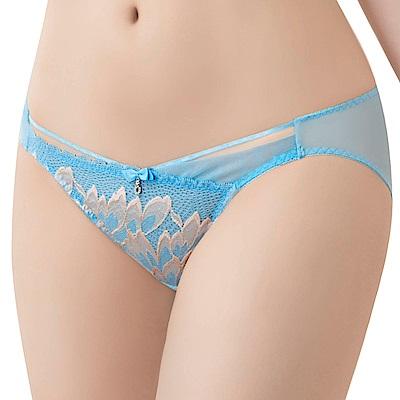 思薇爾 撩波羽晶伶系列M-XL蕾絲低腰三角內褲(湛浠藍)