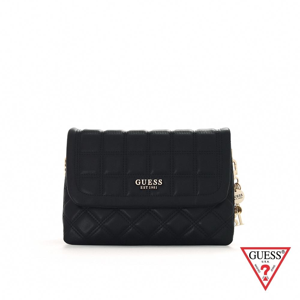 GUESS-女包-時尚格紋壓印鍊條肩背包-黑 原價3090