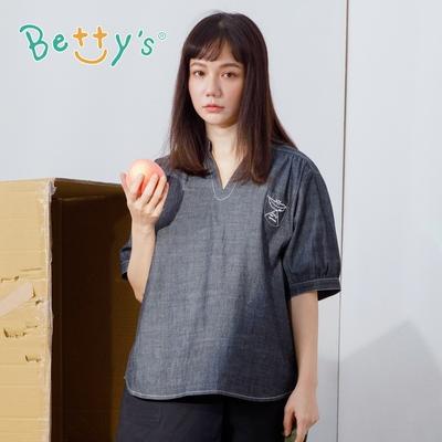 betty's貝蒂思 日系寬鬆風格寬版上衣(灰黑)