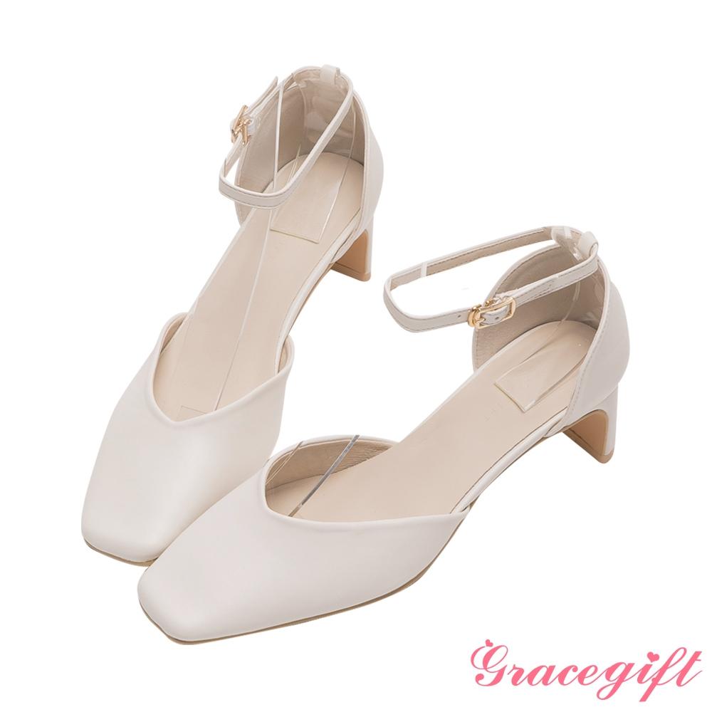 Grace gift-方頭繫踝扁跟鞋 米白