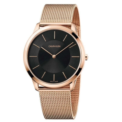 Calvin Klein Minimal 亮金極簡風格米蘭帶腕錶 K3M2T621 (黑)