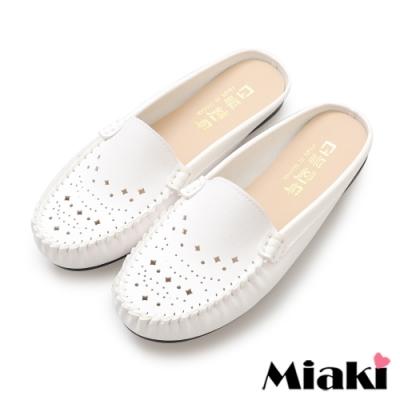 Miaki-穆勒鞋小資首選透氣豆豆鞋-白