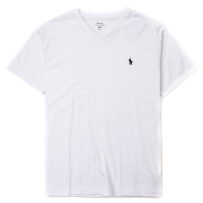 Polo Ralph Lauren 經典刺繡小馬V字領素面短袖T恤-白色