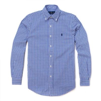 Polo Ralph Lauren 年度經典刺繡小馬長袖格紋商務襯衫CLASSIC FIT-深藍色