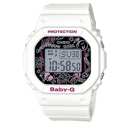 BABY-G 塗鴉設計方形電子休閒錶-白(BGD-560SK-7)/40mm