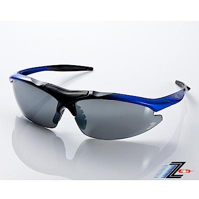 【Z-POLS】TR90彈性輕量黑藍漸層 搭載PC防爆電鍍水銀黑運動太陽眼鏡