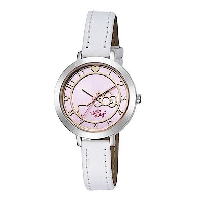HELLO KITTY 凱蒂貓 微甜夢幻氣質手錶 白x粉紅/35m