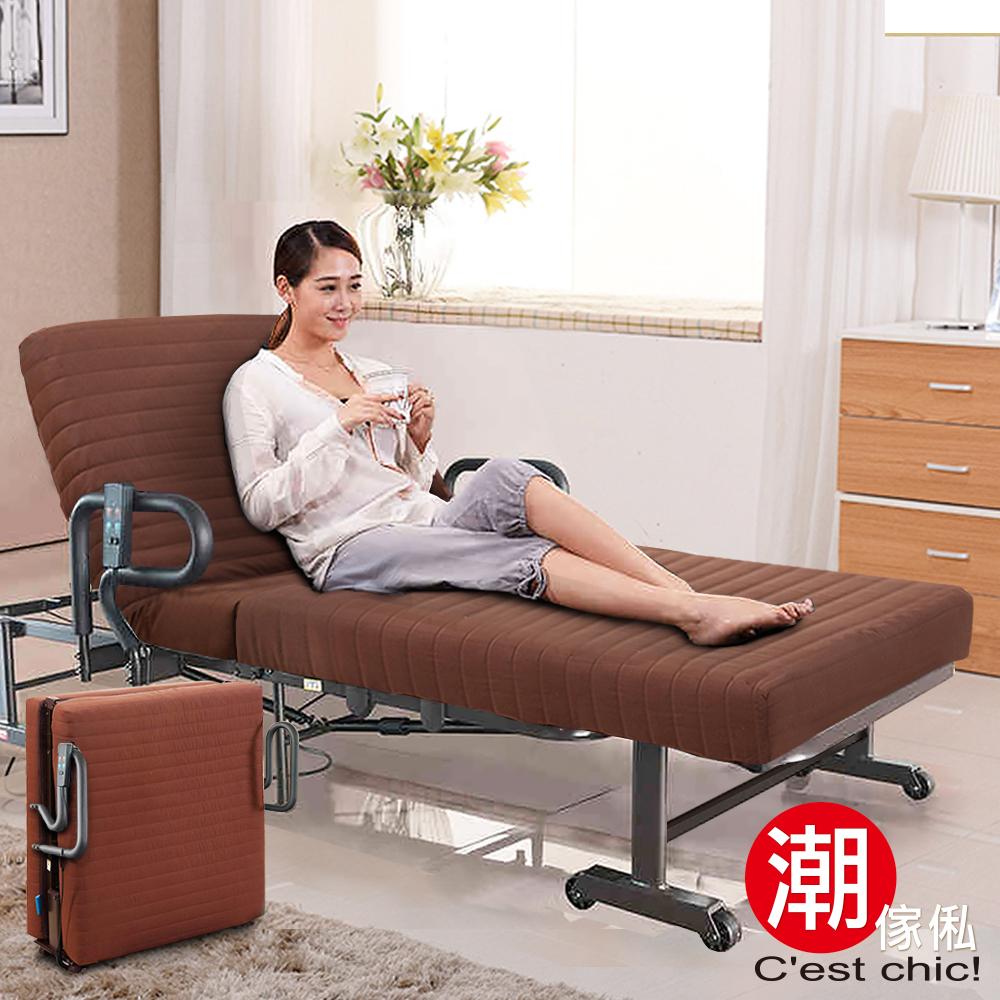 C est Chic-櫻花町加厚雙馬達電動折疊床