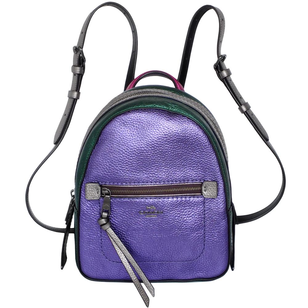 COACH ANDI金屬紫綠撞色全皮多重搭配小款後背包