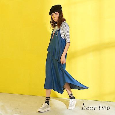 beartwo 休閒波浪不規則背心洋裝(藍色)