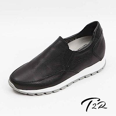 【T2R】正韓空運全真皮氣質樂福增高鞋-黑-增高6公分