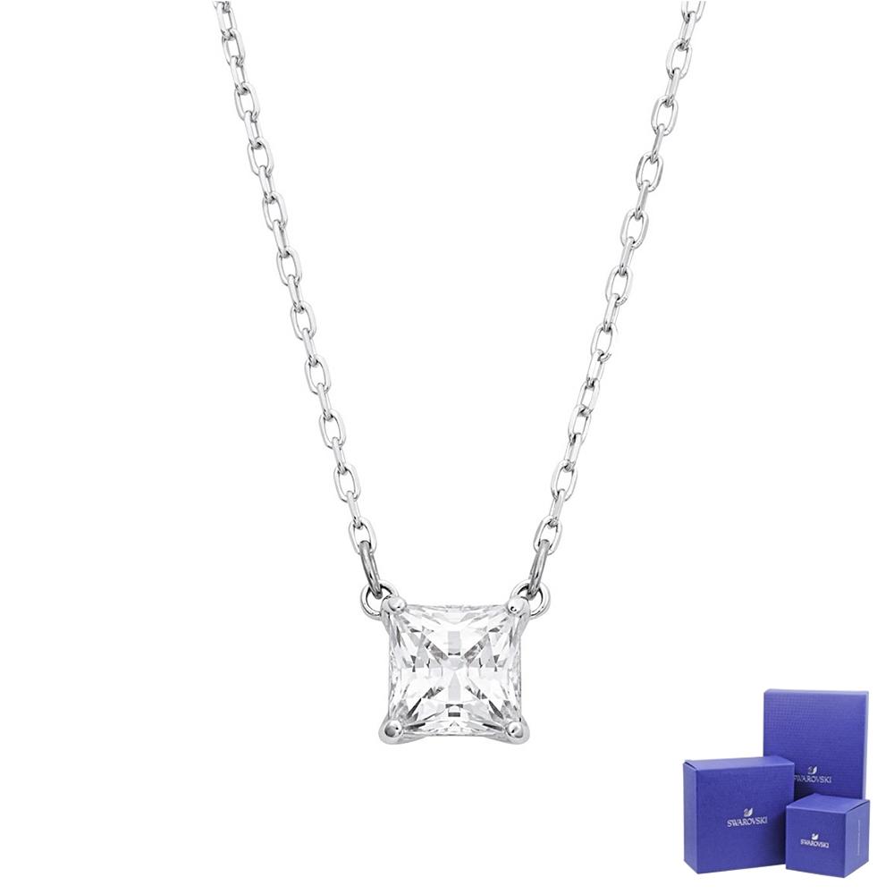 SWAROVSKI 施華洛世奇 ATTRACT璀璨水晶方型銀色項鍊