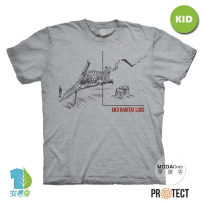 摩達客-美國The Mountain保育系列 無家可歸花豹 兒童灰色純棉短袖T恤