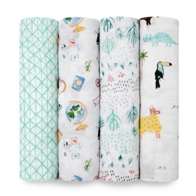 美國aden+anais  輕柔新生兒包巾(4入)-熱帶雨林系系列AA2076