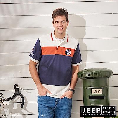 JEEP 造型撞色短袖POLO衫-藍色