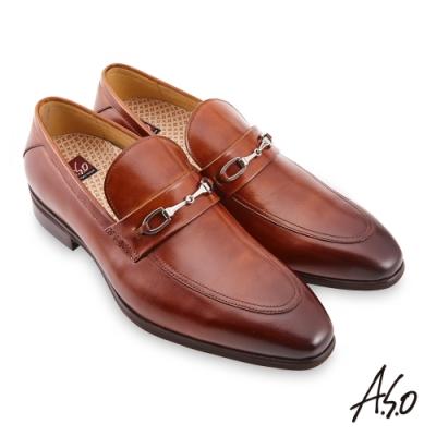 A.S.O 零壓挺力拋色金屬釦樂福鞋-茶色