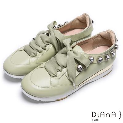 DIANA蝴蝶結珍珠鑲邊真皮綁帶休閒鞋-活力耀眼-綠