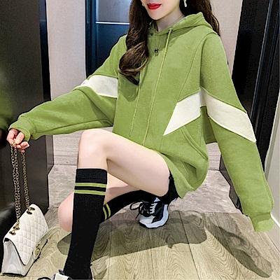 DABI 韓國風連帽休閒百搭拼色寬鬆長袖上衣