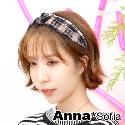 【滿額再7折】AnnaSofia 金絲方格中央結 韓式寬髮箍(黑白系)