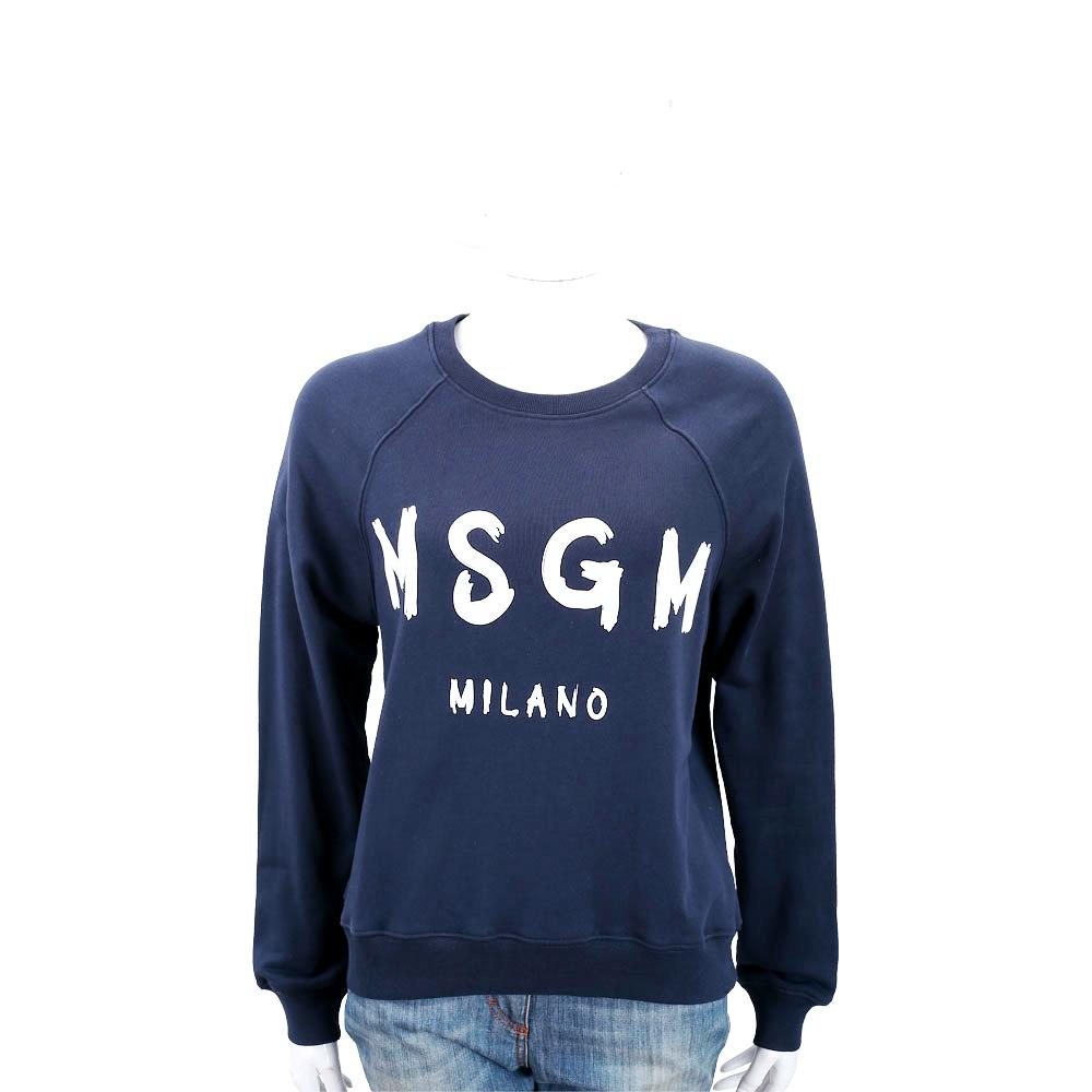 MSGM SCOOP NECK 品牌人氣款深藍色字母棉質運動衫