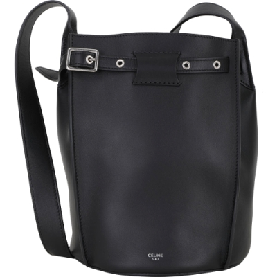 CELINE Big Bag Bucket  平滑小牛皮肩背水桶包(黑色)