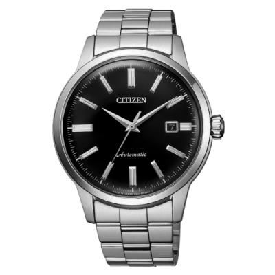 CITIZEN Mechanical摩登復古魅力機械腕錶-銀X黑(NK0000-95E)