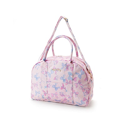 Sanrio 美樂蒂防潑水加工輕量旅用提背袋/波士頓包(繽紛緞帶)