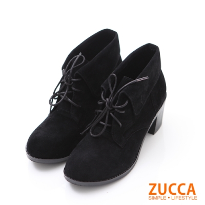 bellwink 反摺繫帶皮革低跟短靴-黑色-b9708bk