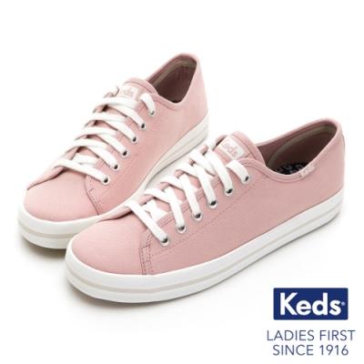 Keds KICKSTART 中性基本綁帶帆布鞋-粉