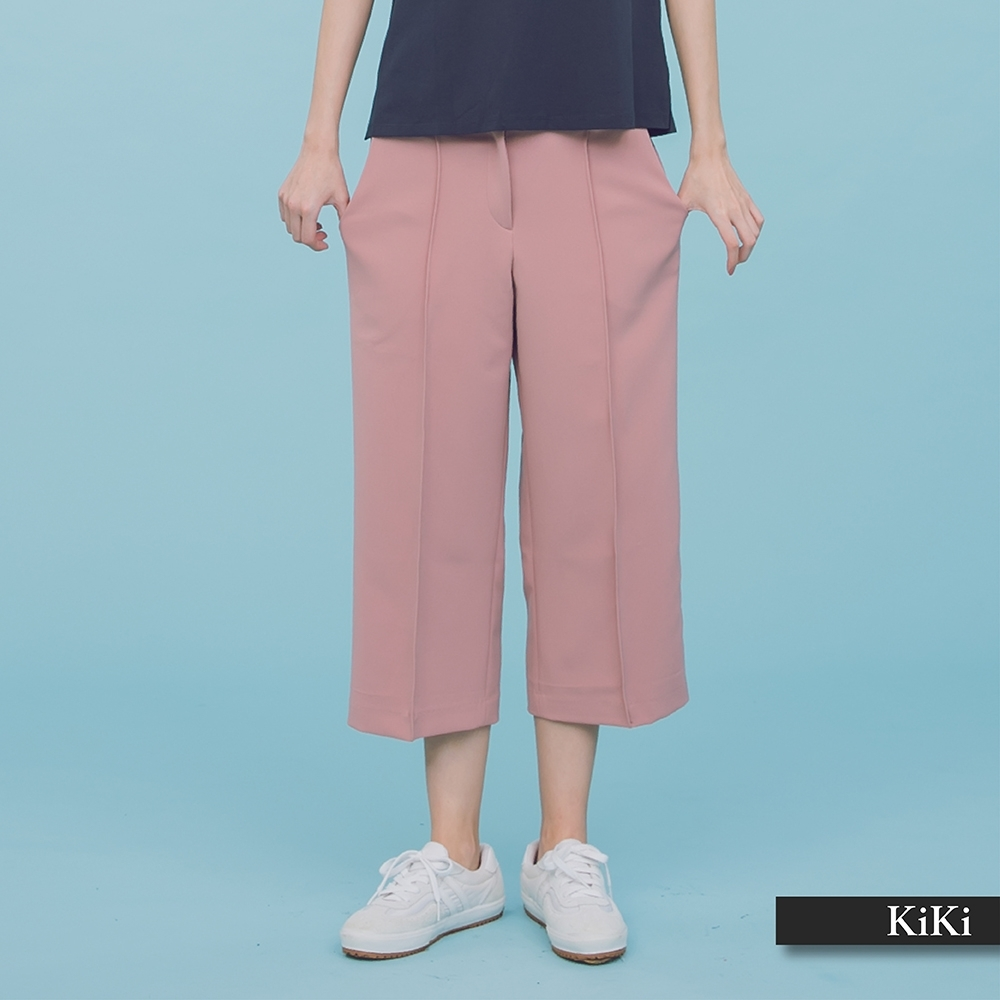 【KiKi】上班族系列七分寬-長褲(二色)