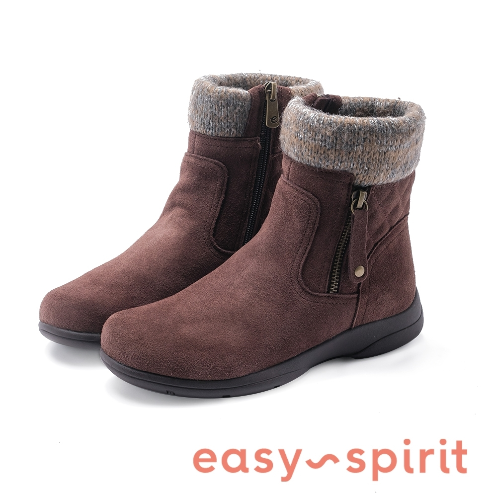 Easy Spirit-JETTY拼接毛線拉鍊休閒短靴-絨棕色