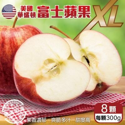 【天天果園】美國華盛頓XL富士蘋果8入禮盒(每顆約300g)