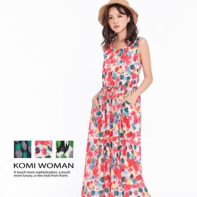 【KOMI】浪漫印花腰抽繩棉口袋背心長洋裝‧三色