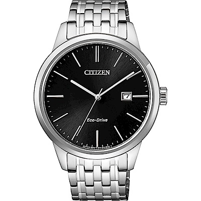 CITIZEN 星辰 ECO-Drive 光動能紳士手錶-黑x銀/40mm BM7301-57E
