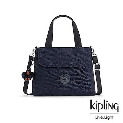 Kipling 文青靛藍紋路前翻蓋手提側背包-ENORA