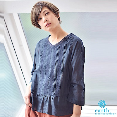 earth music 壓摺蕾絲棉質V領長袖上衣