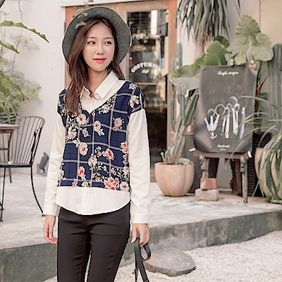 襯衫領拼接花卉格紋印花假兩件長袖上衣-OB大尺碼
