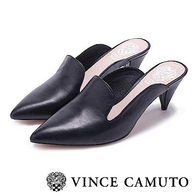 VINCE CAMUTO 氣質尖頭真皮革素面高跟鞋-黑色