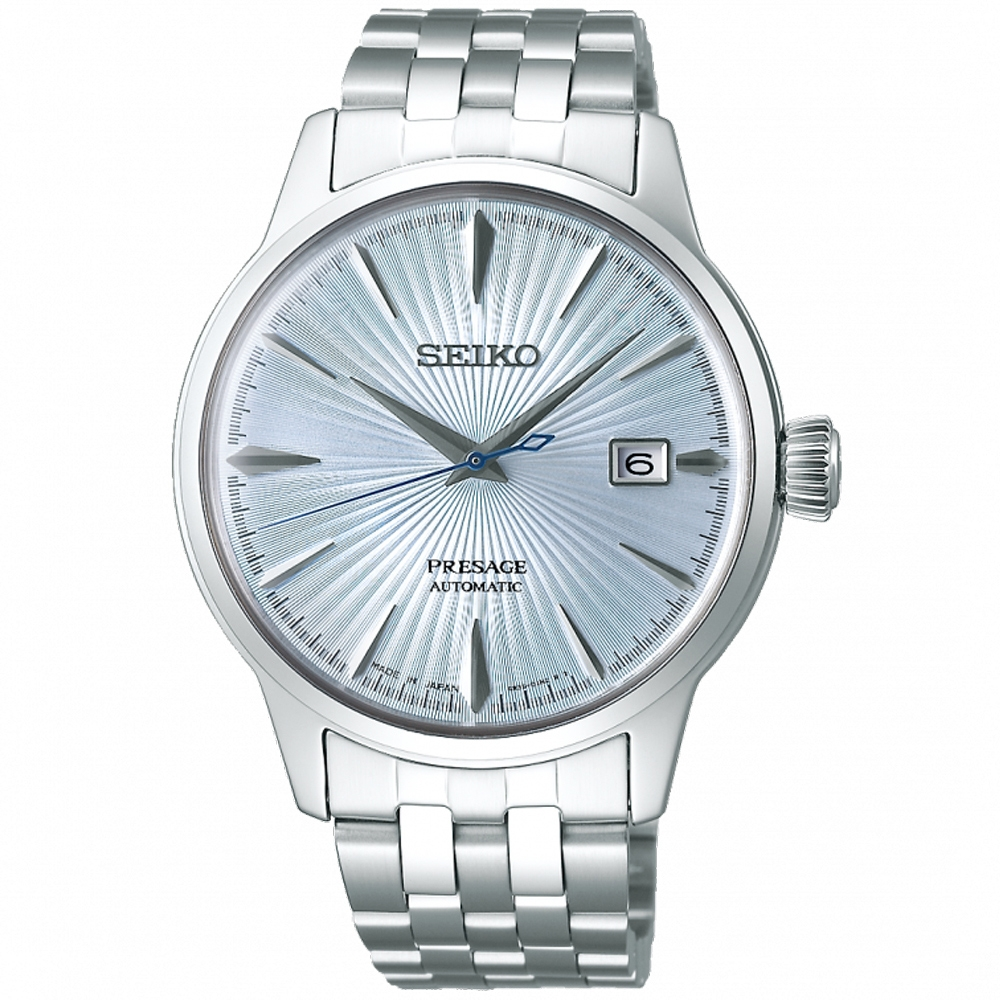 SEIKO精工 PRESAGE 調酒師動力儲存機械錶-天使藍(4R35-01T0C/SRPE19J1)