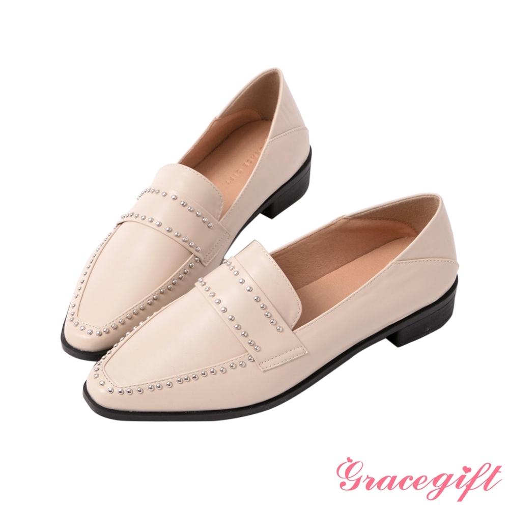 Grace gift-金屬鉚釘飾釦樂福鞋 米白