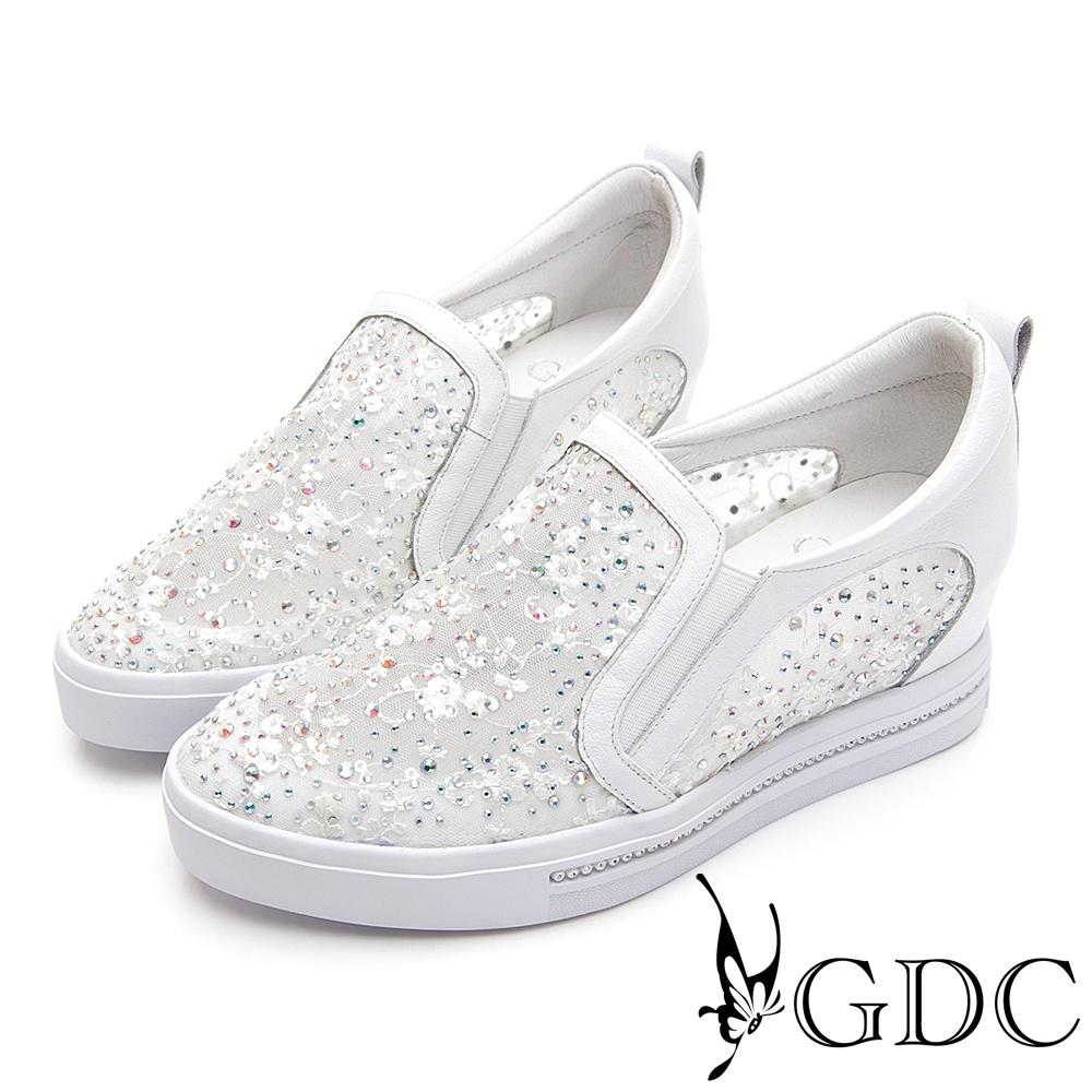 GDC-夢幻碎花水鑽蕾絲透膚春夏厚底休閒鞋-白色