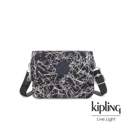 Kipling 英式白漆塗鴉翻蓋斜側背包-OSYKA