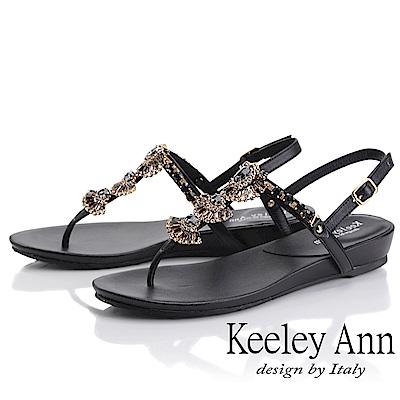 Keeley Ann璀璨寶石 夾腳人字後繫帶平底涼鞋(黑色)