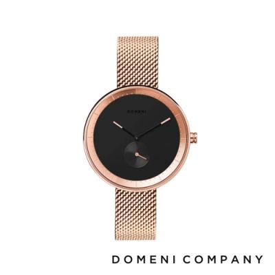 DOMENI COMPANY 經典系列 316L不鏽鋼小秒針錶 玫瑰金錶帶 -黑/32mm